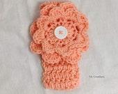 Girl's Peach Headband With Flower