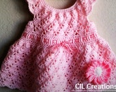Pink Summer Dress for a Little Girl - Handmade Crochet