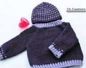 Knit Handmade Baby Raglan Sweater and Hat