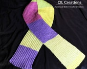 Scarf Handmade Knit Maroon Yellow Green Purple
