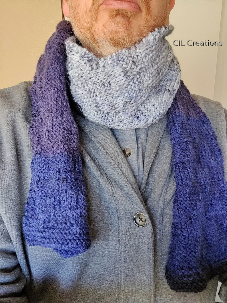 Knit Scarf Handmade Chevron pattern Wild Blueberry Colors image 0