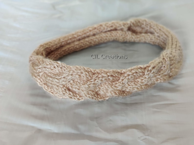 Cable Stitch Headband Adult Beige Hand Knit image 0