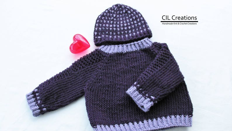 Knit Handmade Baby Raglan Sweater and Hat image 0