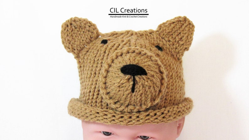 Baby Brown Bear Hat Knitted made to order image 0