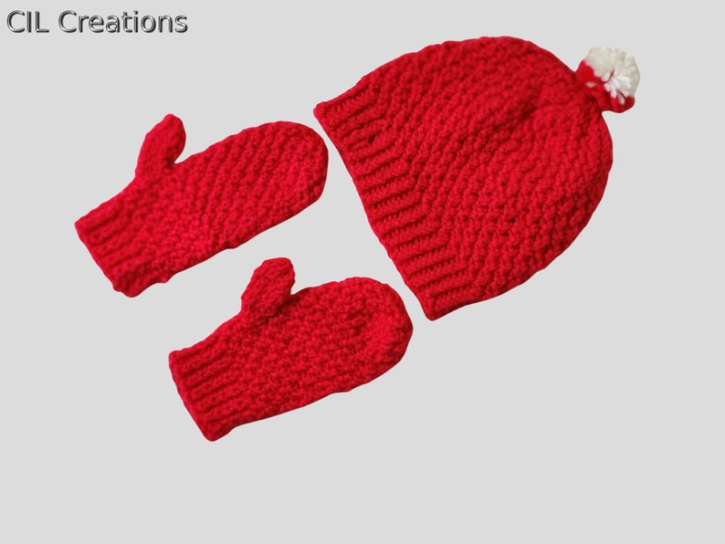 Knit Hat and Mittens Set Dark Pink for Child image 0