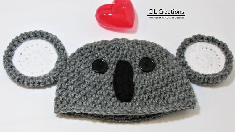 Koala Baby Hats Multiple Sizes Made to Order Handmade Crochet image 0