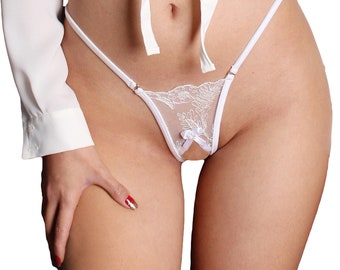 9688f618c84420 Open crotch g string in sheer lace erotic lingerie G string See through  lace thong sexy high cut gift for her
