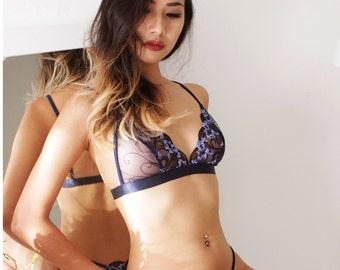 Sheer lingerie,Blue bralette, handmade lingerie, lace lingerie, bra, erotic lingerie, bridal lingerie,bralette by Ange Déchu
