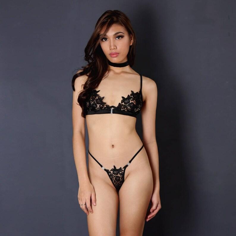 359b6ba924f Sheer lingerieSetSee through BraletteBraG stringChoker