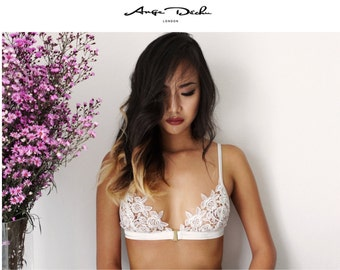 White bralette, sheer lingerie, Lace bra, See through, Bridal lingerie, White bra, Bralette,Erotic lingerie By Ange Déchu