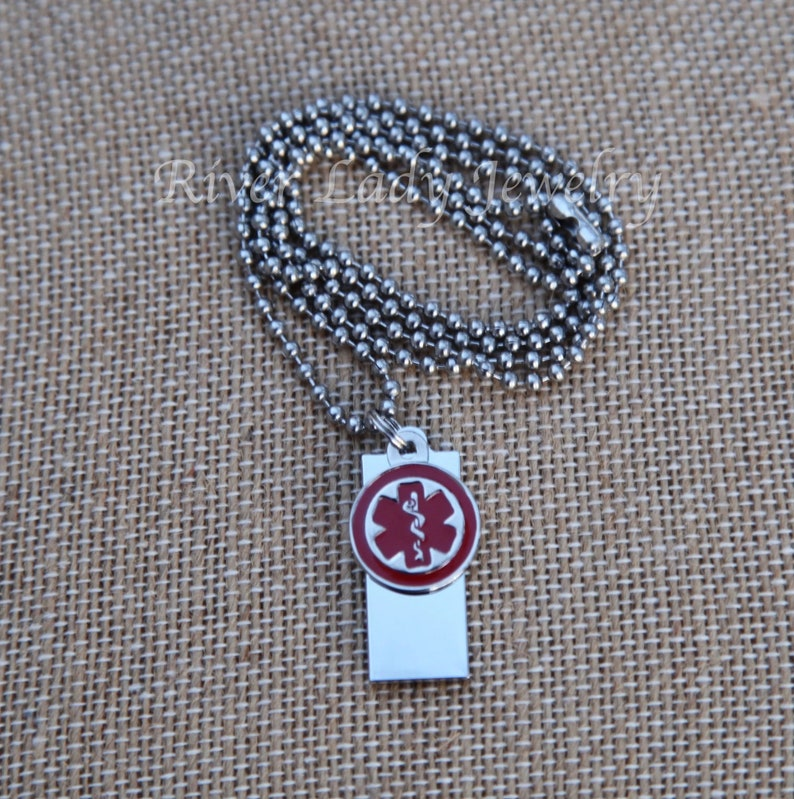 Medical Alert USB Drive Necklace with Stainless Steel Chain