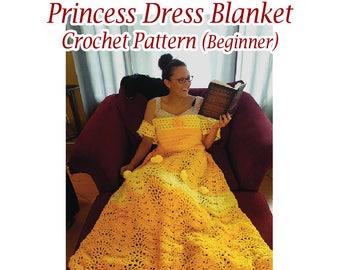 Princess Dress Blanket, Crochet pattern, Includes 3 sizes. US and UK Beginner. Printable download