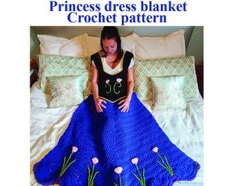 Princess Dress Blanket, Crochet pattern. Includes 3 sizes. Printable download