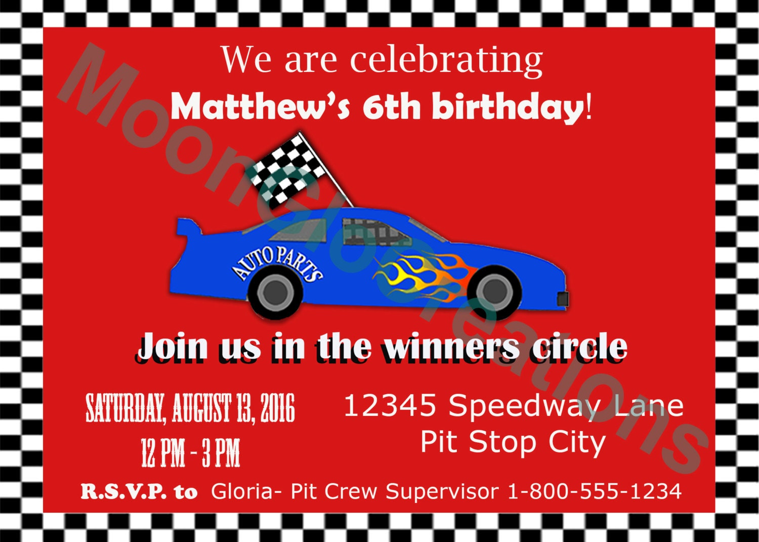 Race car theme Party invitation Birthday party Printable | Etsy