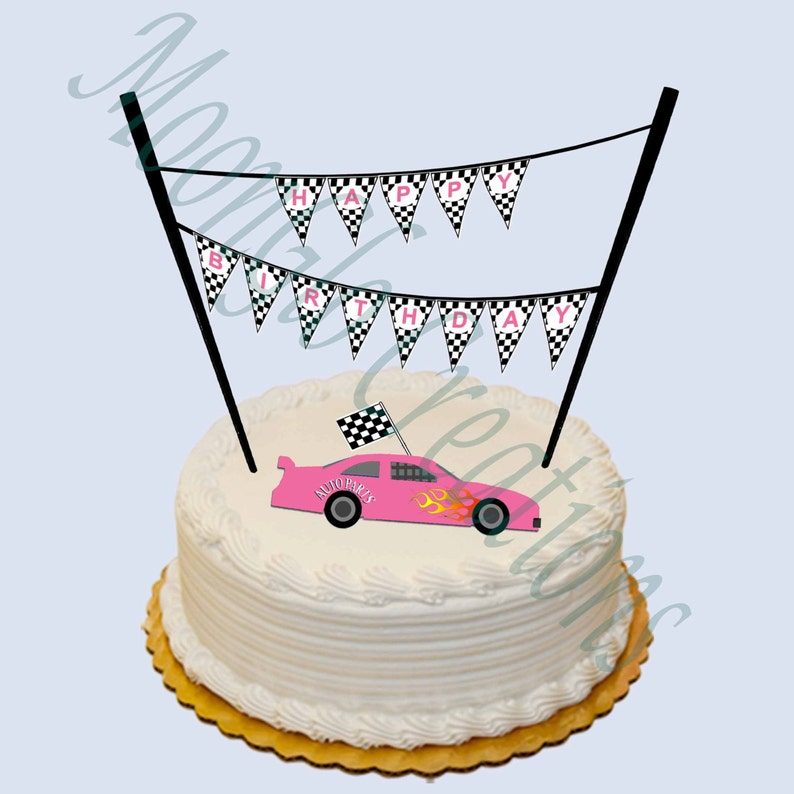 photo regarding Cake Banner Printable known as Race motor vehicle concept Satisfied Birthday cake banner .Purple. Birthday celebration, Printable obtain,checkered flag