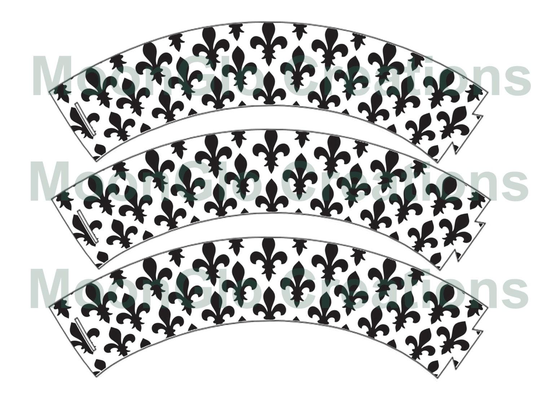 photograph about Fleur De Lis Stencil Printable named Fleur de lis cupcake wrappers . Printable down load,