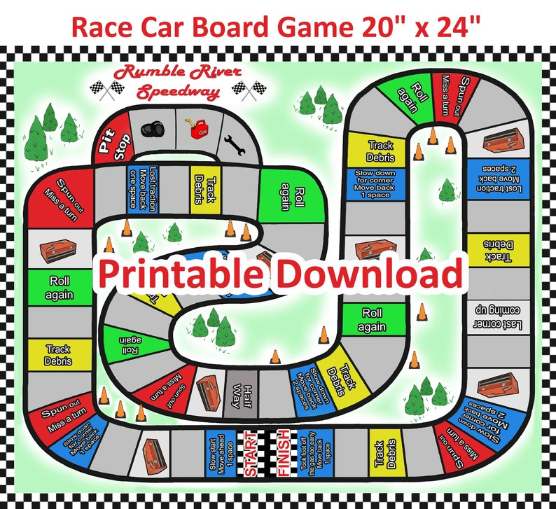 photograph relating to Printable Board Games called Race Vehicle Printable Board Video game, Checkered flag, Bash products, Birthday get together, Printable down load