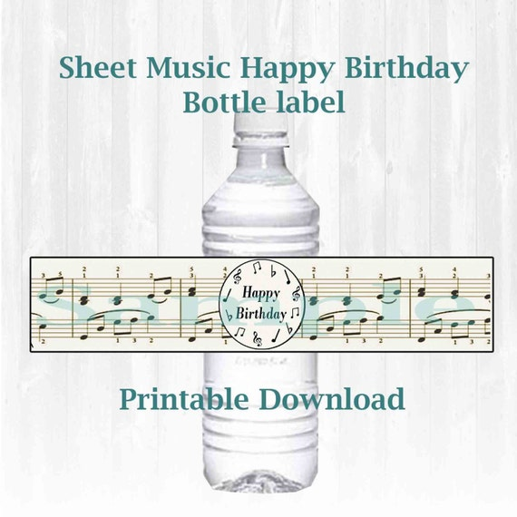 Musical Note Themed Water Bottle Labels. Happy Birthday