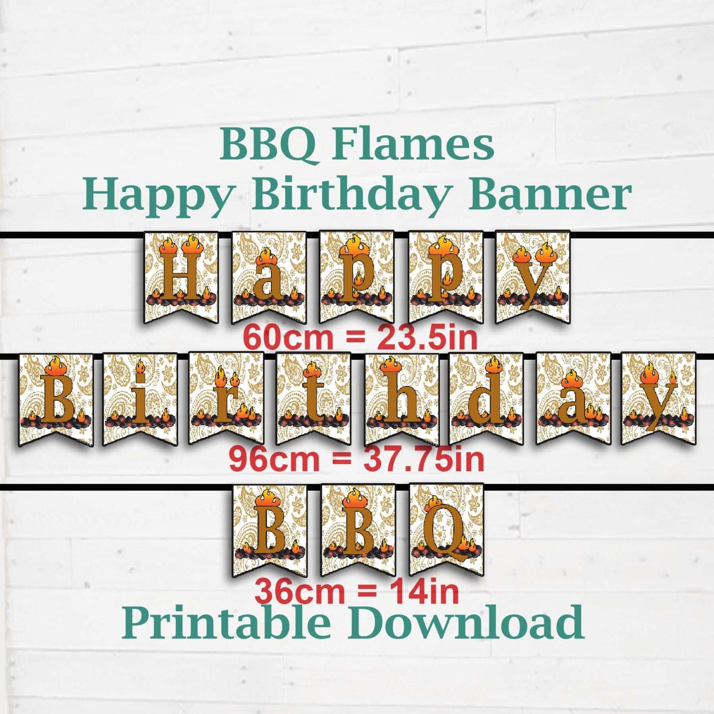 BBQ Theme 'Happy Birthday' Banner. Birthday Party