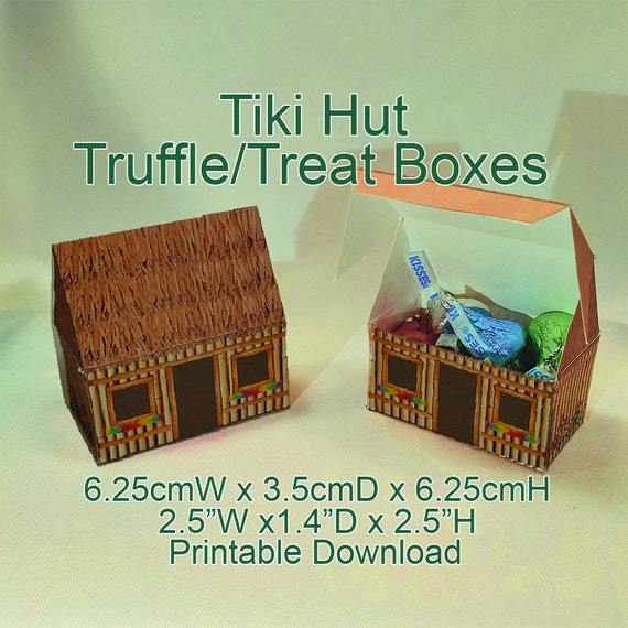 Sensational Tiki Hut Truffle Favor Box Printable Download Beach Tropical Party Wedding Download Free Architecture Designs Osuribritishbridgeorg