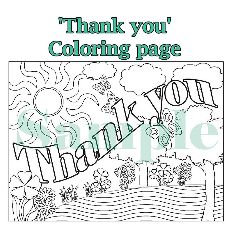 Coloring page, Thank you, Birthday party, Goody bag, Wedding, Baby  shower,Printable download