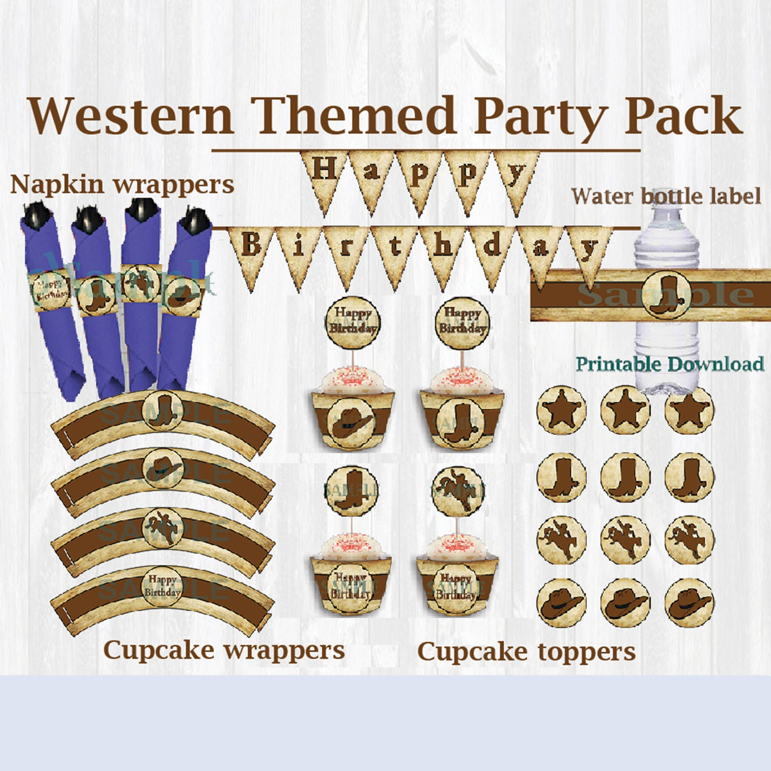 Western Themed Birthday Party Package. Wall Banner Cupcake