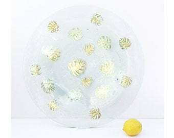 Kiln-Formed Art Glass Centerpiece Bowl // large round decorative shallow clear glass display dish with allover suspended gold leaf pattern