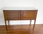 Early 20th Century Wood and Marble Top Two Door Federal Style Sideboard Local Pick Up Only