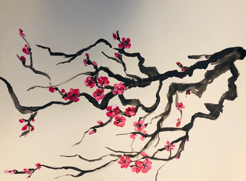 Cherry blossom original paintings Acrylic on canvas and paper Great for gift Spring Mothers day Sakura