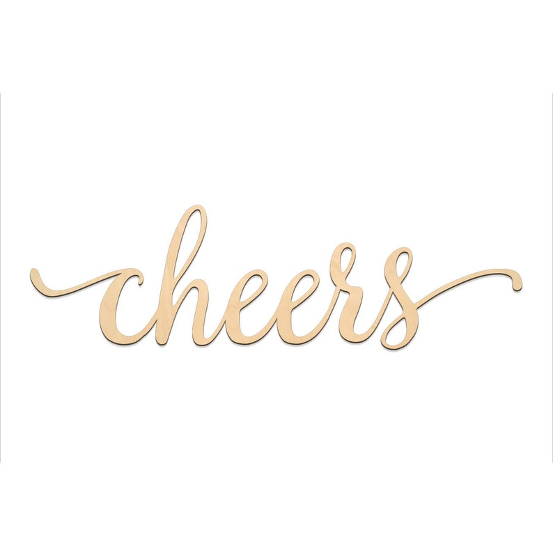Cheers Script Word Wood Sign Wooden Words Sign Art Rustic Cursive Word Room Decoration Wall Hanging Laser Cut Unfinished Wood 3001