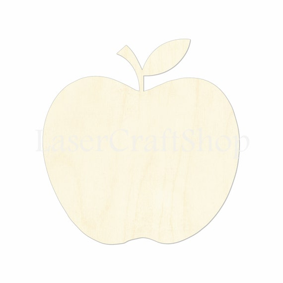 2 34 Apple With Leaf Wooden Cutout Shape Silhouette Gift Tags Ornaments Laser Cut Birch Wood 1162
