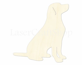 """2"""" - 34"""" Dog Sitting Wooden Cutout Shape, Silhouette, Gift Tags Ornaments, Room Decoration, Laser Cut Unfinished Wood,  #1834"""