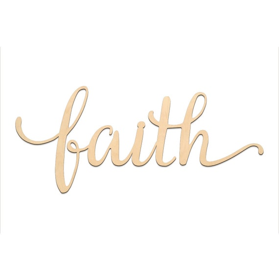 faith script word wood sign wooden words sign art rustic etsy