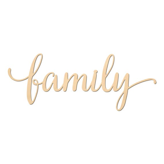 Family Script Word Wood Sign Wooden Words Sign Art Rustic Cursive Word Room Decoration Wall Hanging Laser Cut Unfinished Wood 3003