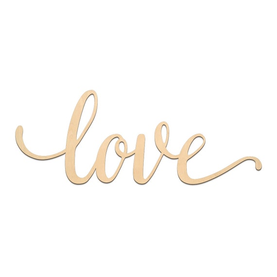 Love Script Word Wood Sign Wooden Words Sign Art Rustic Cursive Word Room Decoration Wall Hanging Laser Cut Unfinished Wood  From Lasercraftshop
