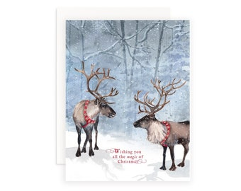 Wishing You All The Magic of Christmas Greeting Card   Reindeer Greeting Card   Christmas Magic Card   Woodland Card   Watercolor Reindeer
