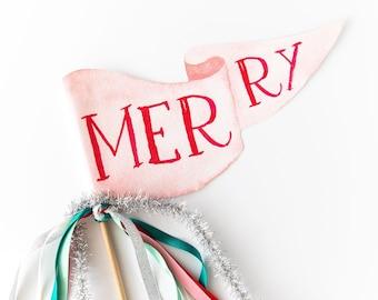 Merry Party Pennant   Christmas Pennant   Christmas Party Decor   Holiday Flag   Christmas Flag   Christmas Decor