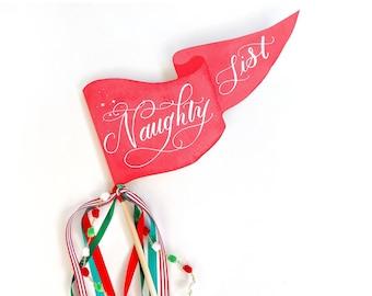 Naughty List Party Pennant   Christmas Pennant   Christmas Party Decor   Holiday Flag   Christmas Flag   Christmas Decor