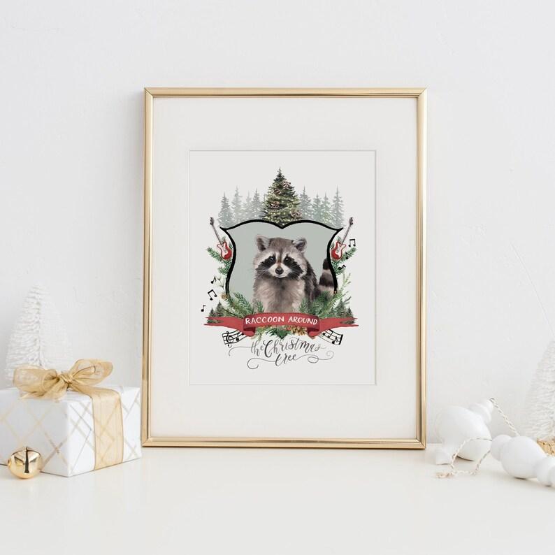 Farmhouse Christmas Holiday Decor Raccoon Around the Christmas Tree Christmas Decor Watercolor Farmhouse Decor Holiday Art Print