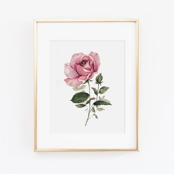 Gallery Art Wall Print Floral Wall Art Watercolor Pink Rose Spray Bouquet Gicl\u00e9e Art Print Pink Home Decor