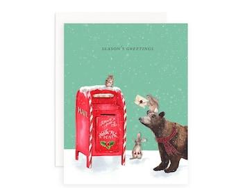Season's Greetings Christmas Card   Watercolor Bear Greeting Card   Christmas Puns   Holiday Puns   Watercolor Rabbits   Watercolor Chipmunk