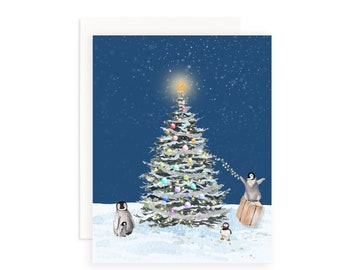 Tree Trimmers Christmas Greeting Card   Watercolor Christmas Tree   Holiday