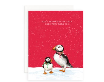 Ain't Puffin Better Than Christmas With You Greeting Card   Puffin Greeting Card   Watercolor Puffin   Christmas Puns   Holiday Puns