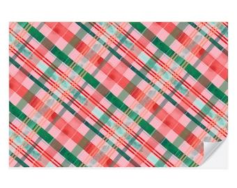 Merry Christmas Plaid Placemat Pad   Christmas Placemat   Watercolor Plaid Christmas Placemat   Winter Table Decor   Plaid Tablescape