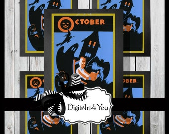 Digital collage/Halloween/October/Witch/Unique/Children/Kids/Story Time/Clip Art/Unusual/Digital Download/Inchies/Dominoes/Vintage Art