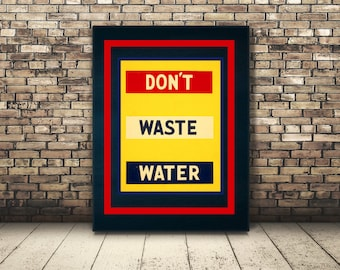 High Resolution Poster Digital Download of Vintage Water Environmental Protection Ad. Wall Art or Home Decor for Water Conservation. Green.