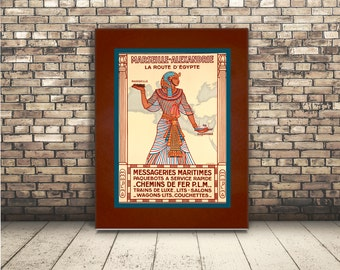 High Resolution Poster Digital Download of Vintage Travel Ad of Egypt with Hieroglyphics. Egyptian Wall Art or Home Decor for Traveler. DIY.