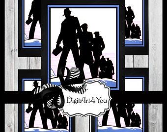 Digital collage/Union/New Job/Steampunk/Construction/Crew/Lunch Box/Man/Men's/clip Art/Digital Download/Vintage Art/Retro/Collage
