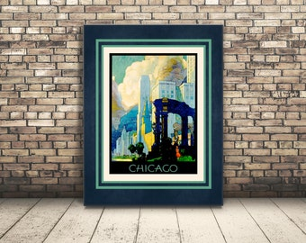 High Resolution Poster Digital Download of Vintage Travel Poster of Chicago, Illinois. Wall Art or Home Decor of Big City of Chicago.