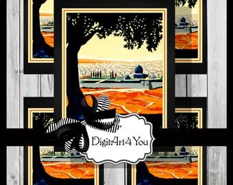 Greeting Card/Cards/Palestine/Camel/Egypt/Middle East/Tourist/Unusual/DIY Printable Card/Tourism/Vintage Collage/Digital Download/Vintage